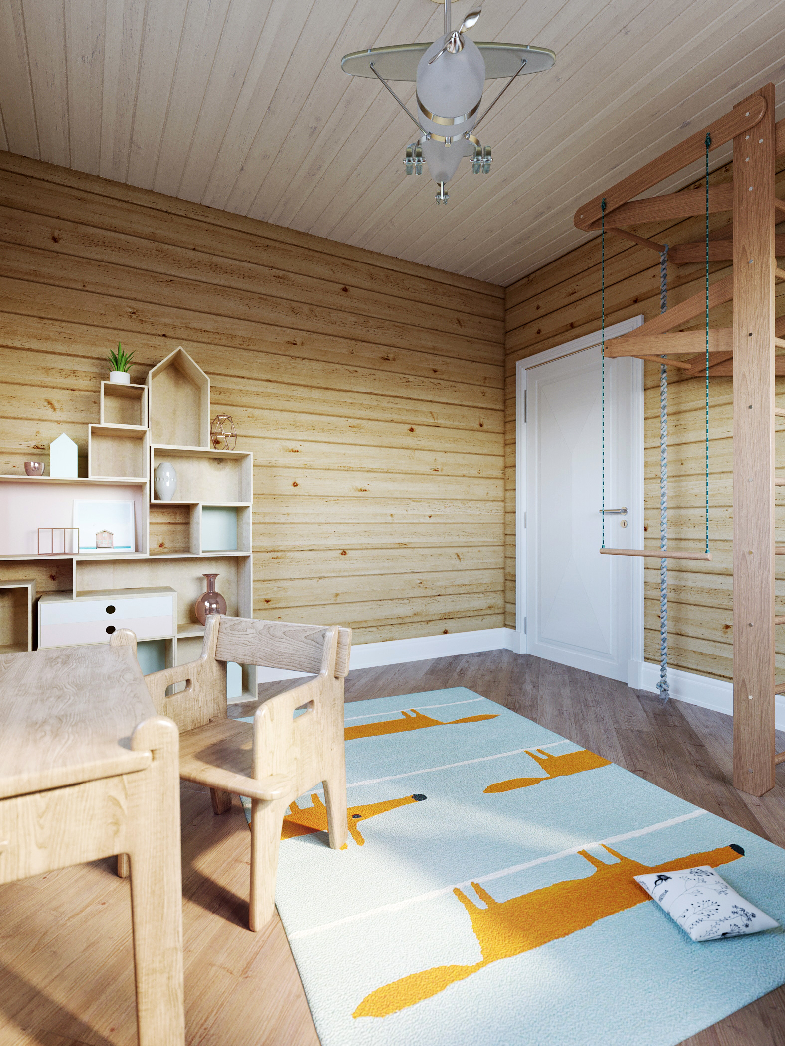 Children's room in a wooden house