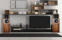 Example of Shinjitsu Audio Speakers on a typical room shelf