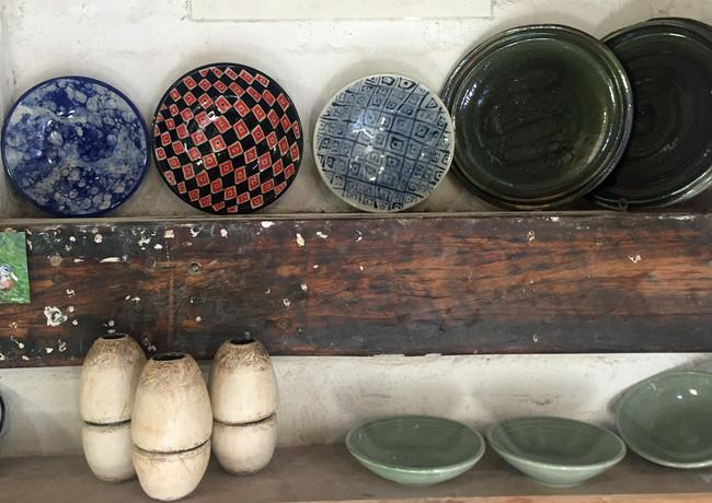 Studet work on display shelf