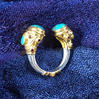 Silver and gold plate with turquoise