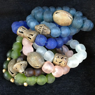 Recycled glass beads & West African brass
