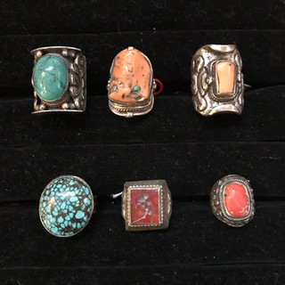 Silver with turquoise, antique coral, antique carved carnelian