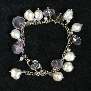 Amethyst and pearls on silver chain