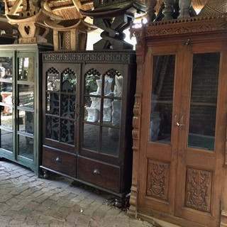 Glass-fronted cupboards