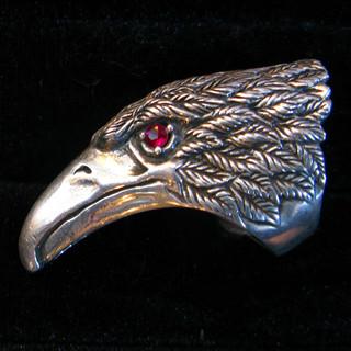 Silver and garnet eagle, Thailand