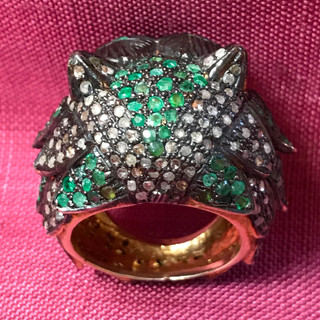 Owl silver and gold plate with diamond, emerald, ruby, India