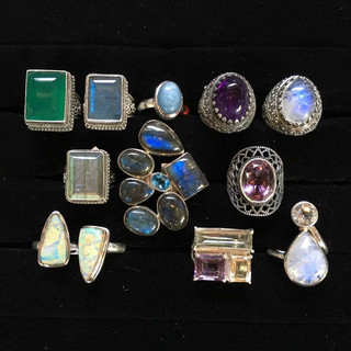Silver, with assorted gemstones, India
