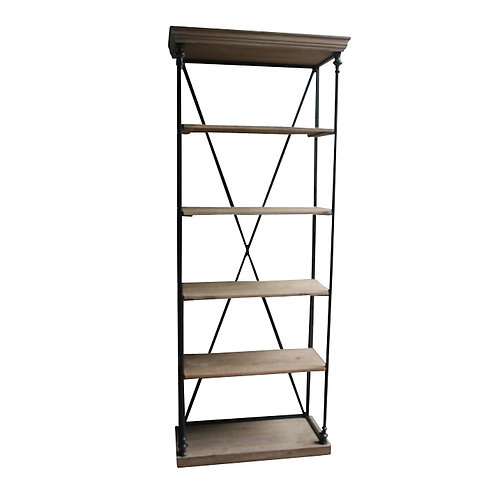 Fir Wood and Iron Bookcase