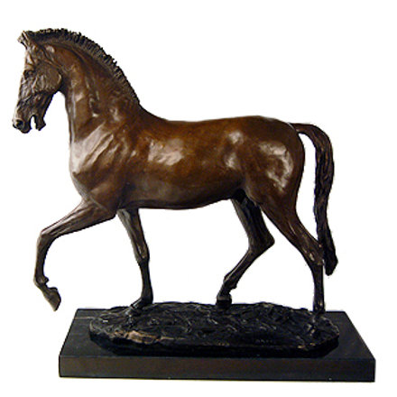 Large Horse Bronze Sculpture on Marble Base