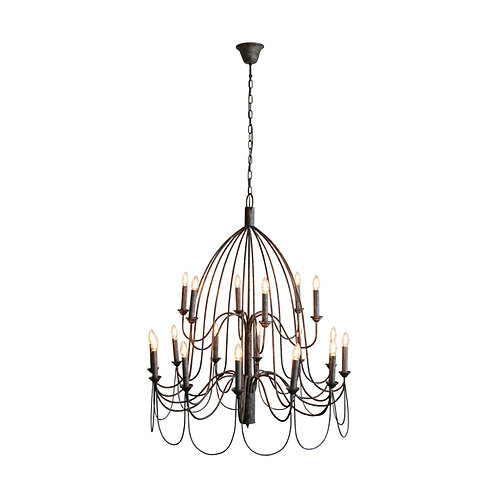 Large Iron Taupe Chandelier