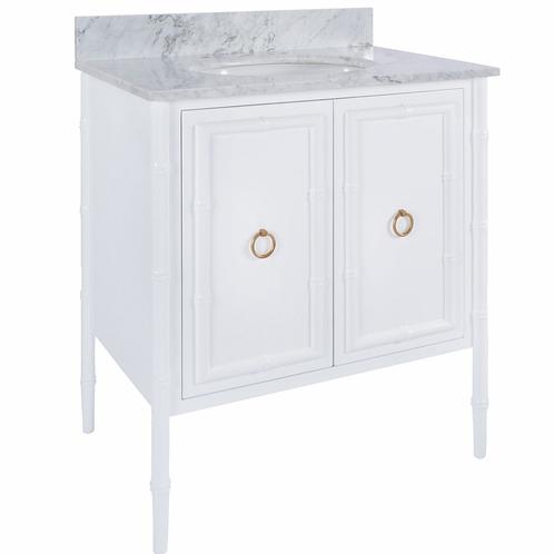 White Bamboo Detail Vanity – Gold or Nickel Detail