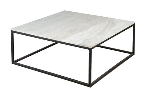 Black Square Coffee Table with Stone Top