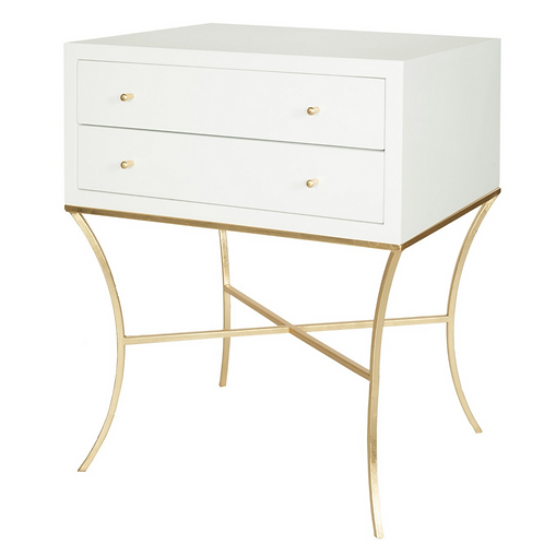 Elenor White Side Table – Gold or Nickel finish