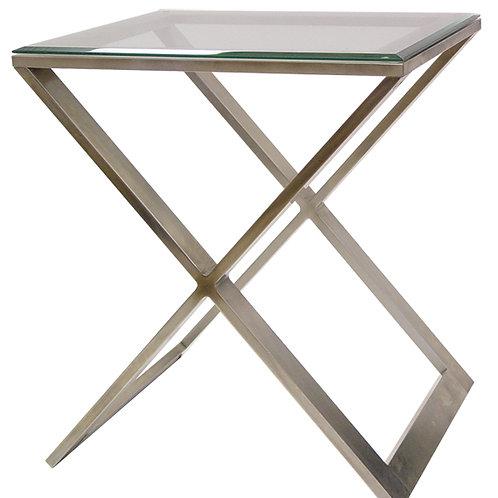 Brushed Nickel Scissor Side Table