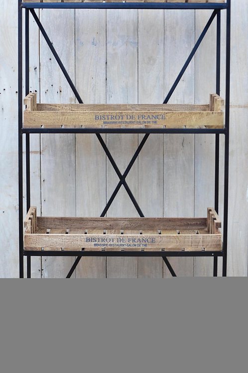 French Industrial Bookcase on Wheels