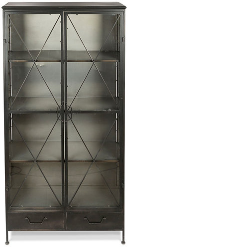 Metal Bookcase with Glass Doors