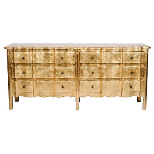 Scalloped 6 Drawer Chest Gold