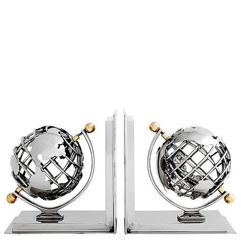Globe Nickel Bookends Pair