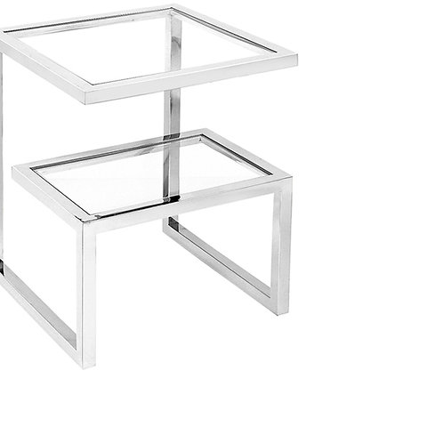 Matrix Nickel and Glass Side Table
