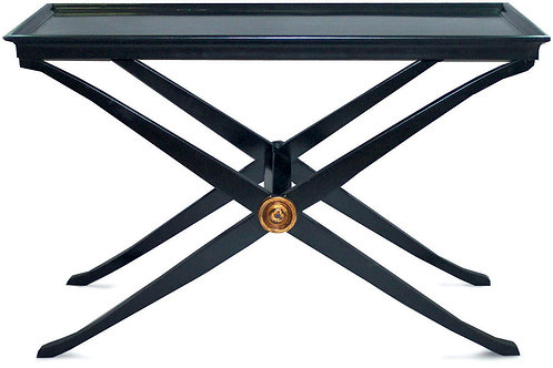 Black Tray Console Table with Gold Medallion