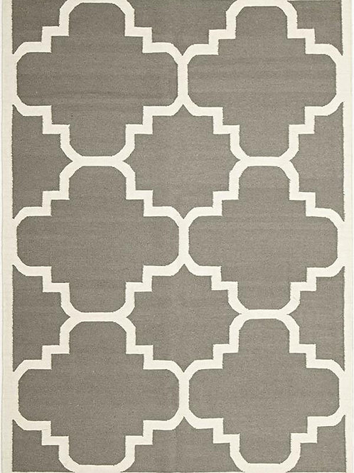 Grey Hand Knotted Wool Kilim