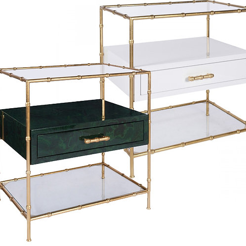 Gold Bamboo Table with shelves – 2 options