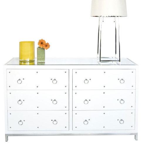 Studded White Lacquer Dresser