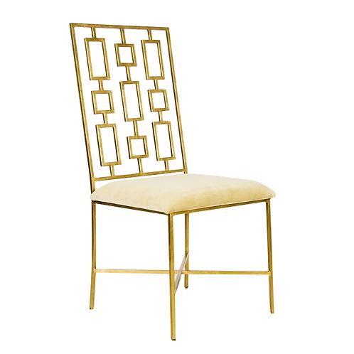 Davis Chair Beige Velvet- Gold/Silver option