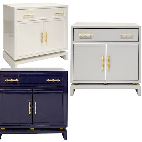 Bamboo Handle Lacquer Cabinet – White / Grey / Navy