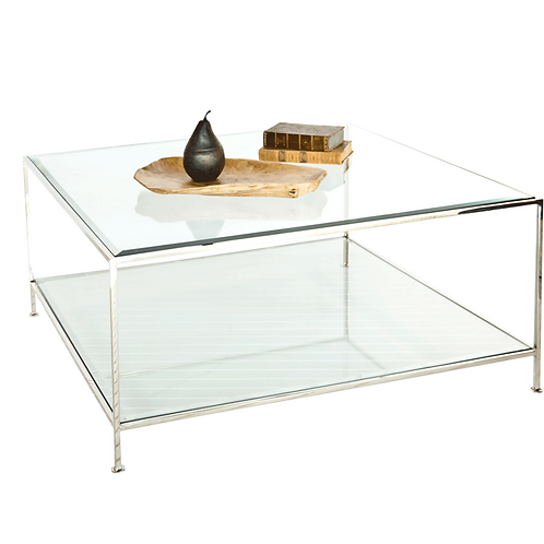 Square Coffee Table – Nickel or Gold Leaf