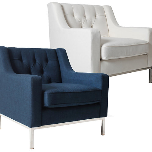Monterery Arm Chair – Navy / Ivory / Denim
