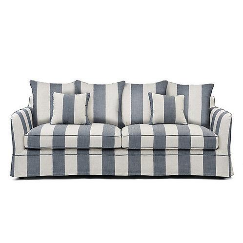 Cream & Denim Stipe Sofa – 3 Seater
