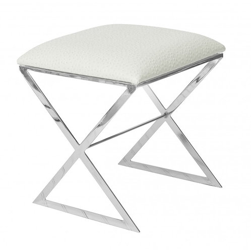 Cross Stool - Silver or Nickel/Colour Seat Options