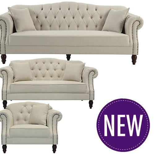 Austin Buttoned Sofa Beige – 3/2/1 Seater