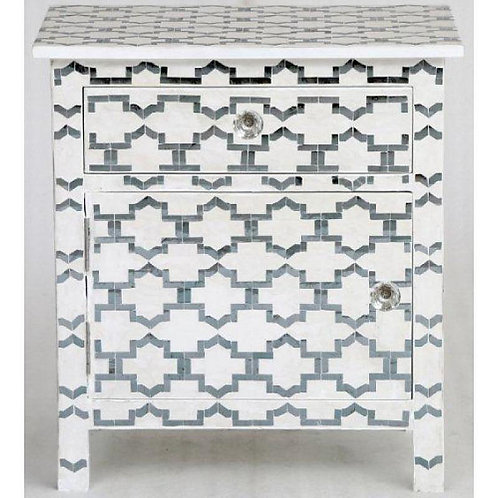 Silver and White Mirror Inlay Bone Cabinet