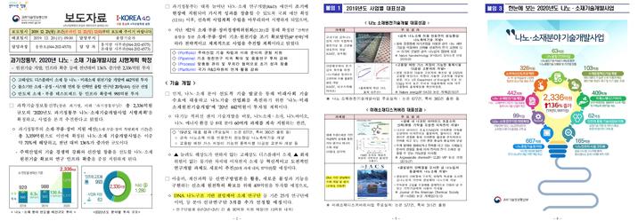 과기정통부 2020년나노·소재 기술개발사업 시행계획 확정 (2019.12)