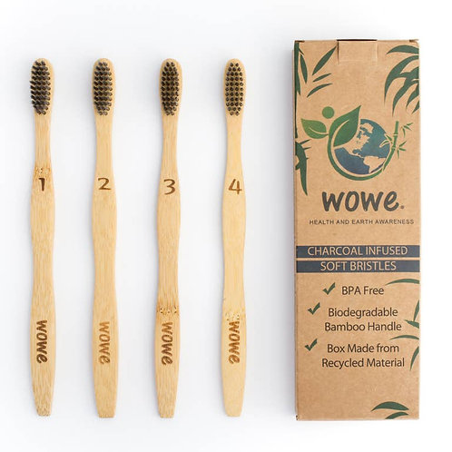 4 Pack - Charcoal Infused Bristle Bamboo Toothbrush