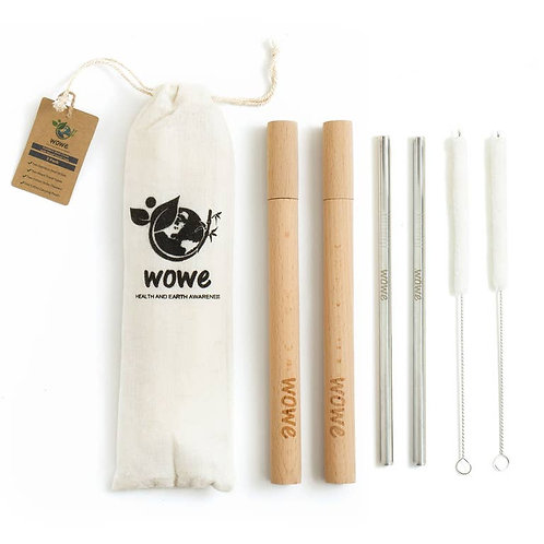 Stainless Steel Straw with Wood Travel Case | Eco-Friendly