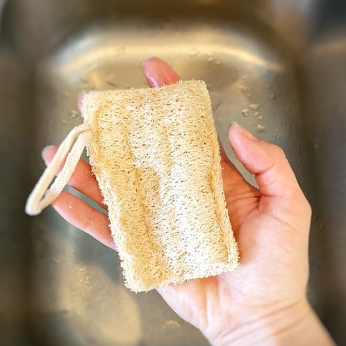 Loofah Dish Sponge: Double Layer with cotton loop 3-Pack