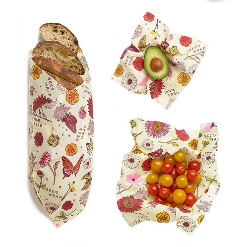 PLANT-BASED - Bee's Wrap - Meadow Magic - Pack of 3 (Assorted Sizes)