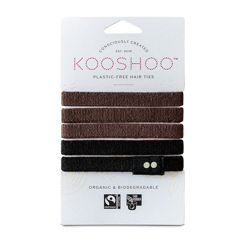 Kooshoo Hair Ties Organic Biodegradable - Black/Brown