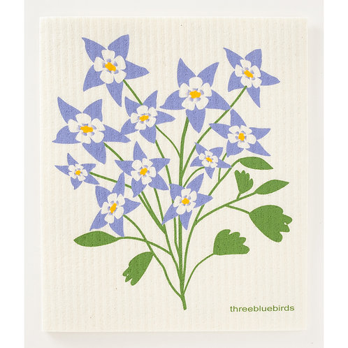 Swedish Dishcloth - Columbine Flower