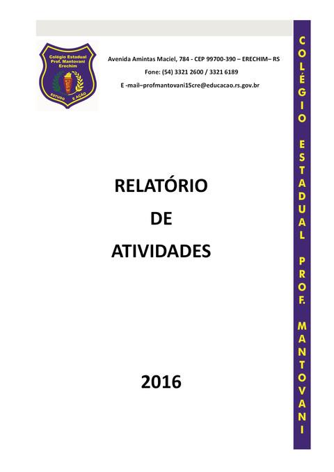 Relatório do ano letivo 2016