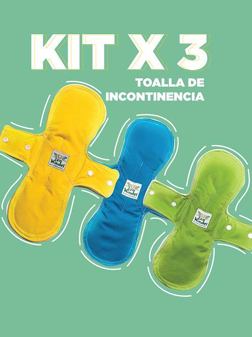 Kit x 3 Toallas de incontinencia urinaria