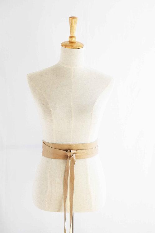 Creme' Caramel Wrap Tie Belt