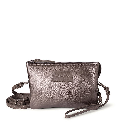 Pewter Mini Sling Wallet and Clutch Bag