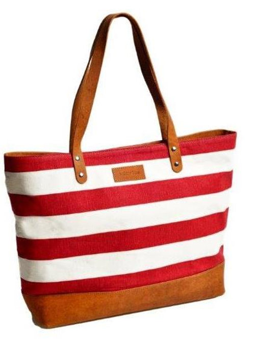 Red & Natural Stripe Everyday Tote