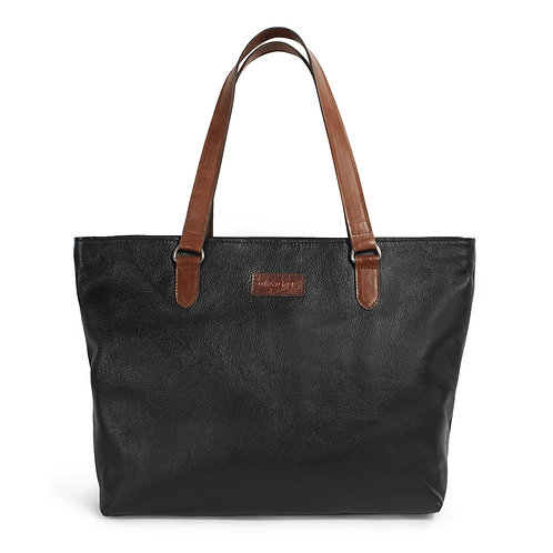 Black Two Tone Soft Leather Tote