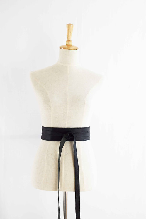 Black Wrap Tie Belt