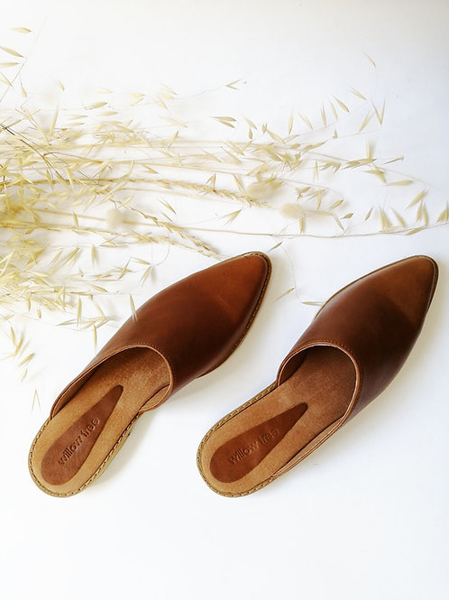 Leather Mules - Tan